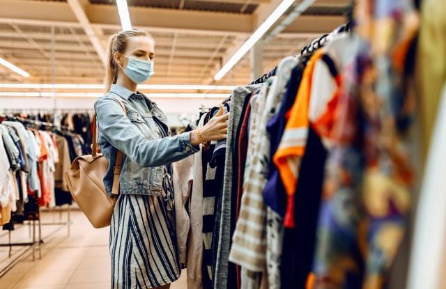 shopper mask fashion clothing rack
