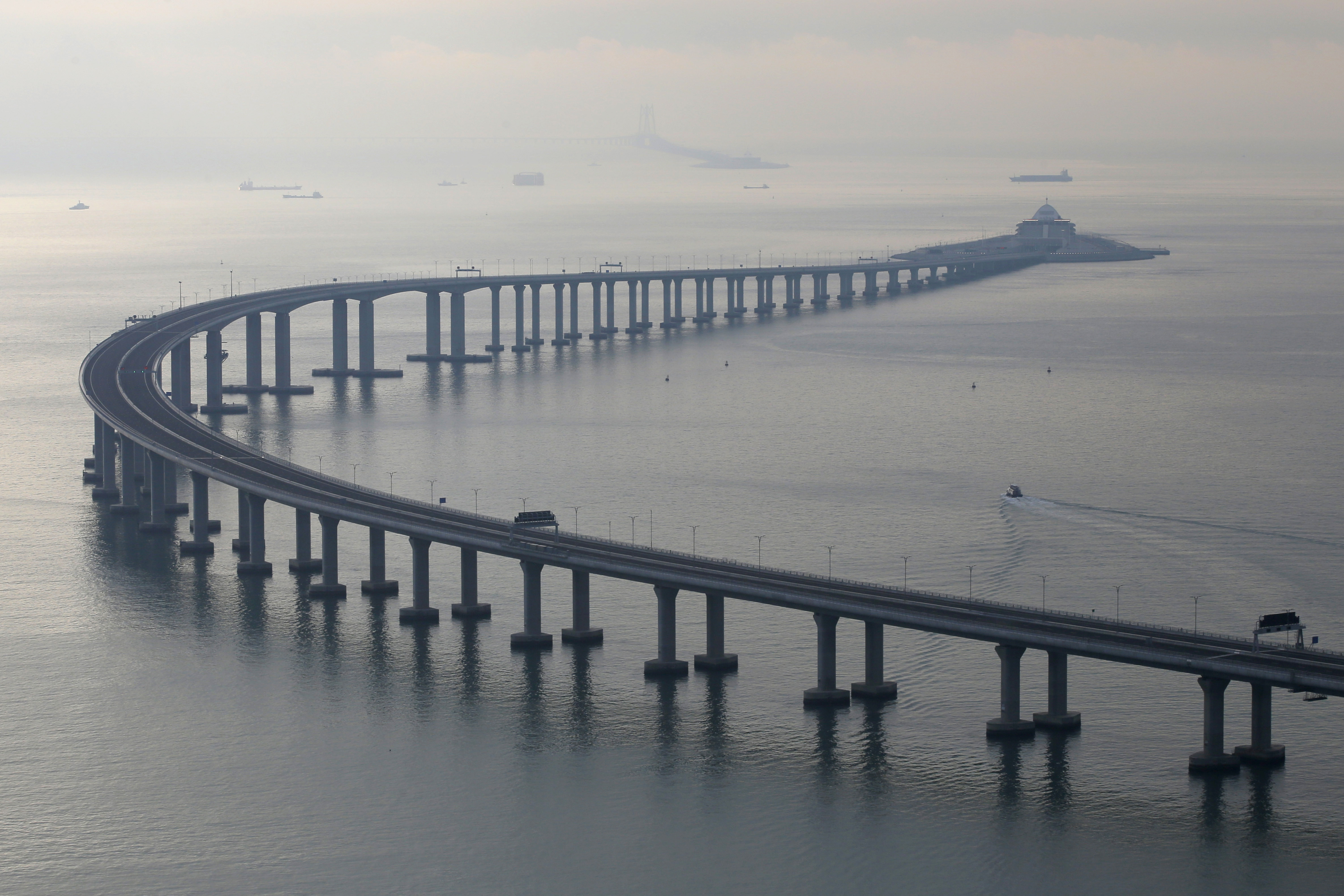 The Hong Kong-Zhuhai-Macau Bridge is seen in Hong Kong. The bridge, the world's longest cross-sea project, which has a total length of 55 kilometers is a physical symbol of the formation of the Greater Bay Area.