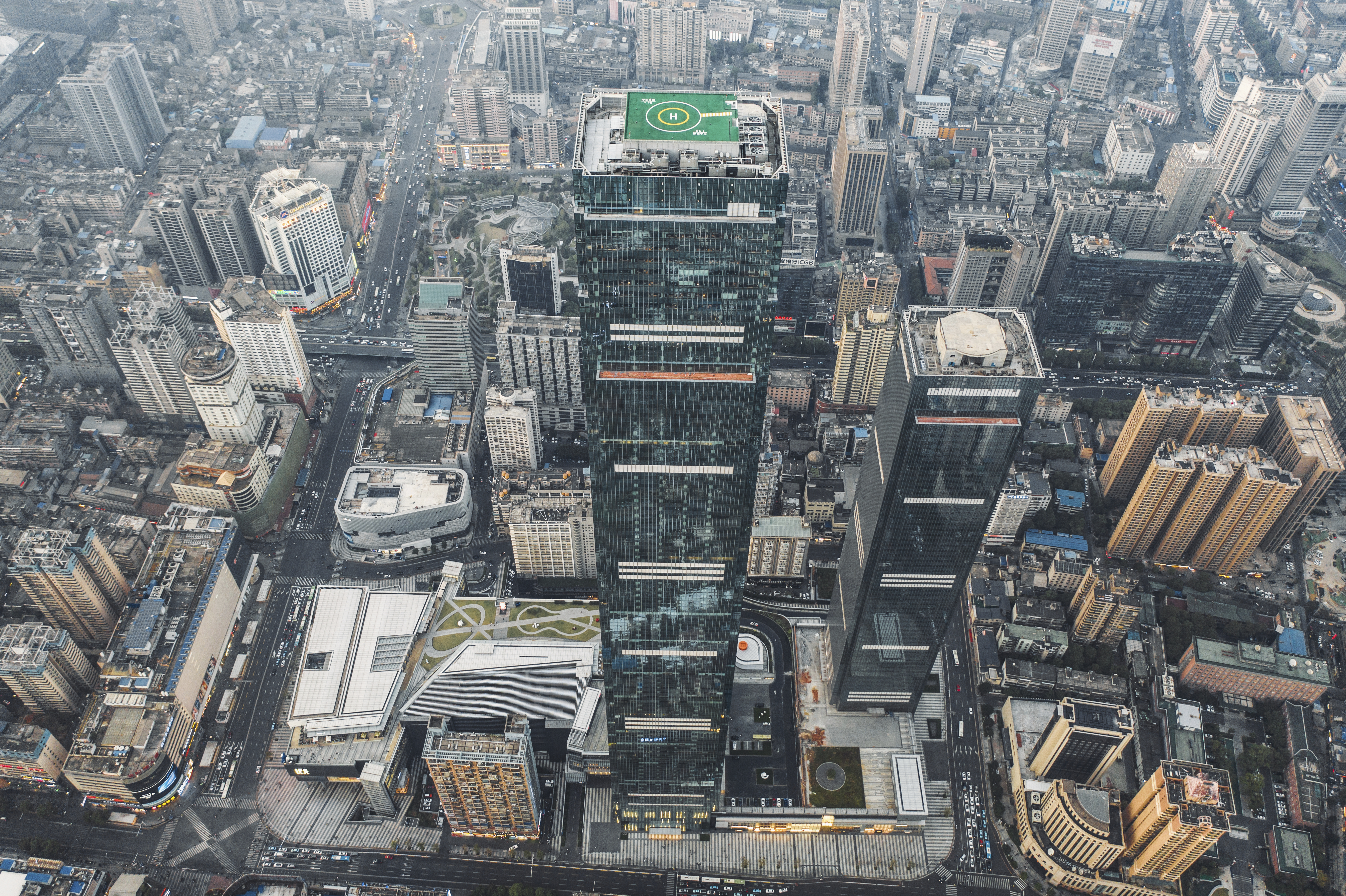 An aerial view of Changsha International Finance Square Tower T1, which is the tallest skyscraper provincially and the tenth tallest building domestically.