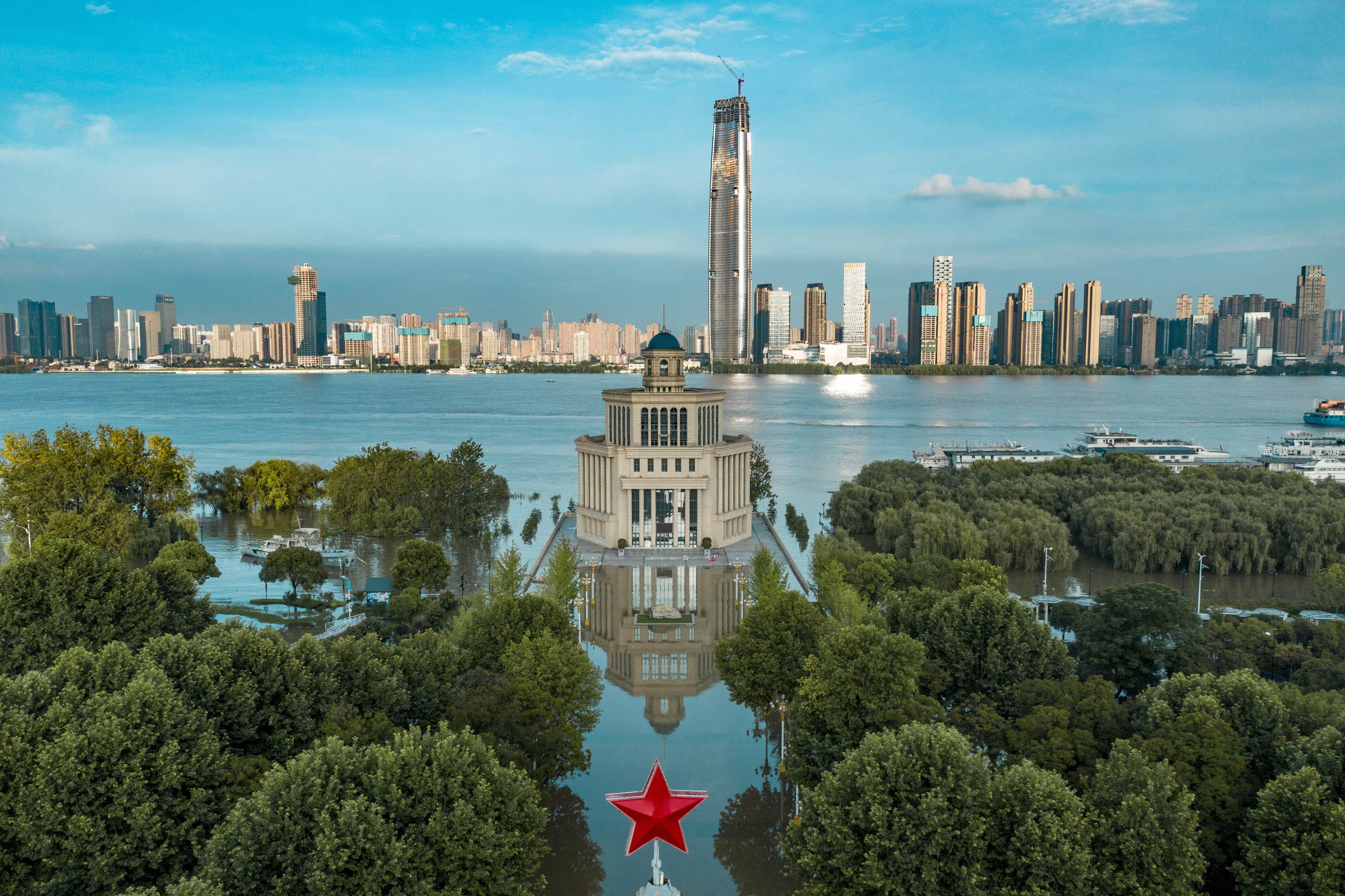 An aerial view of the flooded riverside park along the Yangtze River in Wuhan.