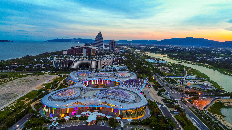 Aerial view of the world's largest duty-free mall Sanya Haitang Bay Duty-free Mall in Sanya city