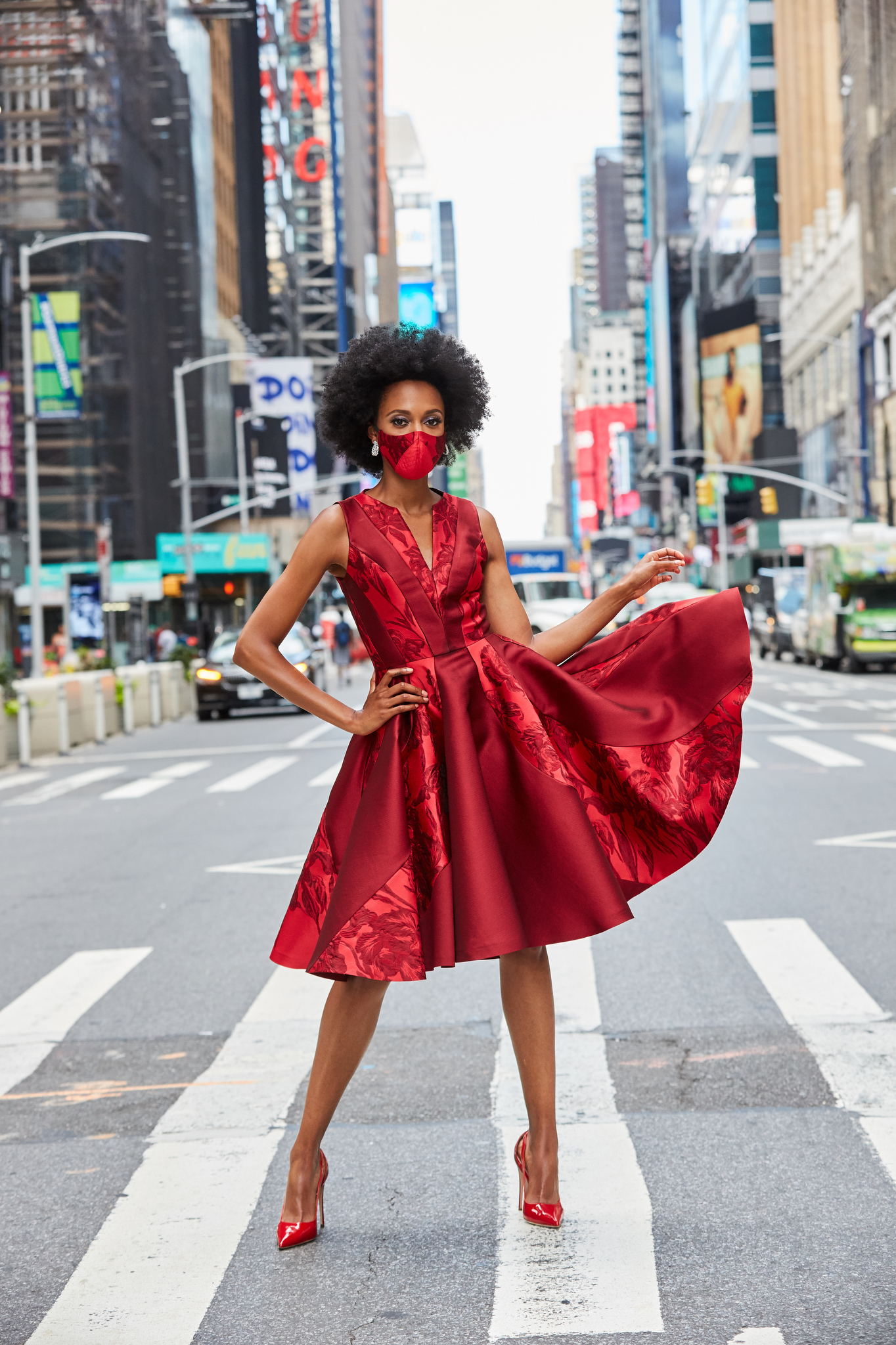 The Red Zone: B Michael's timeless, full-skirted silk-and-cotton dress work with the accessory du jour, a facemask.