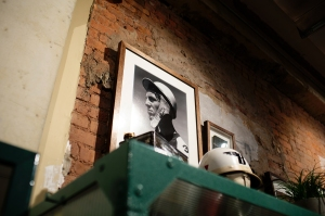 Vintage photos are part of the decor.