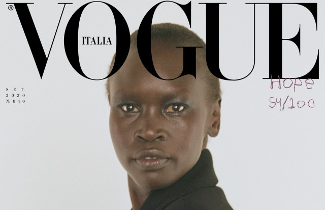Alek Wek is one of the 100 cover stars of Vogue Italia's September issue.