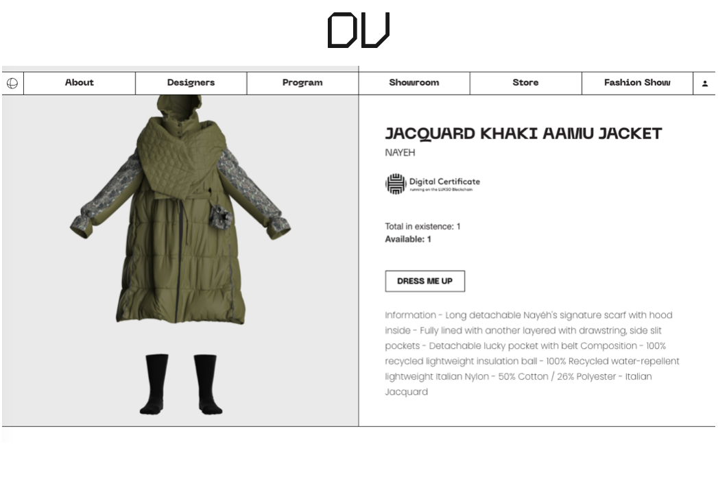Virtual garment display on Digital Village e-store