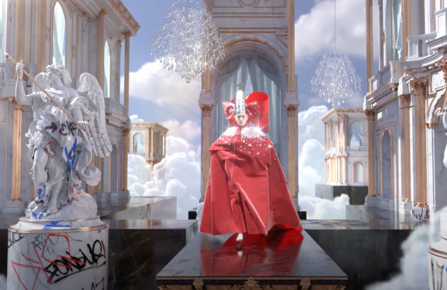 A still image from Patrick McDowell's virtual fashion show.