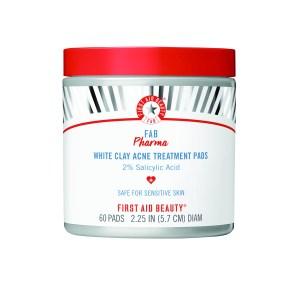 First Aid Beauty FAB Pharma White Clay Acne Treatment Pads with 2% Salicylic Acid