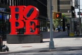 Robert IndianaÕs ÒHopeÓ sculpture in midtown Manhattan.
