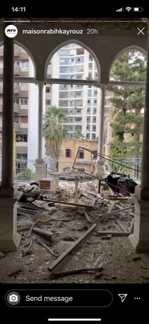 The Maison Rabih Kayrouz headquarters after the blast in Beirut.