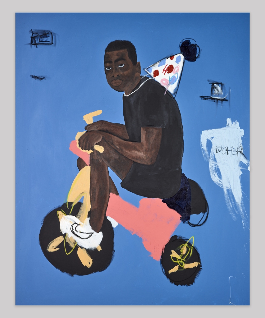 Jammie Holmes, Second Childhood, 2020. Acrylic and oil pastels on canvas. 68h x 48w in. JH077