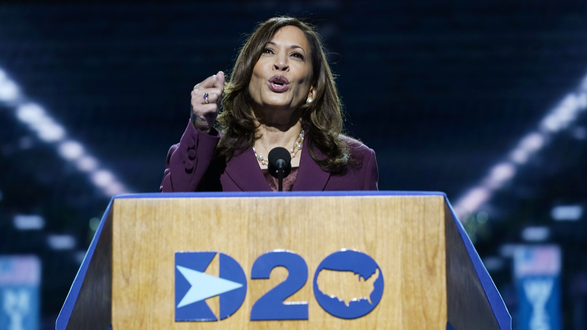 Democratic vice presidential candidate Sen. Kamala Harris at the Democratic National Convention, Wednesday, Aug. 19, 2020.