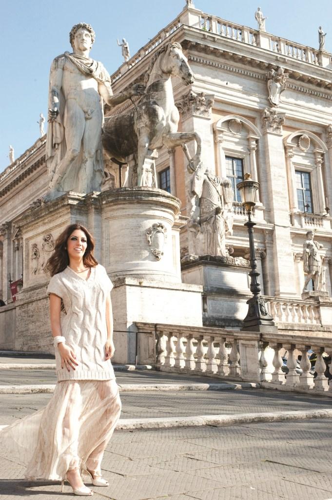 Lavinia Biagiotti Cigna on Rome's Capitoline Hill's staircase.