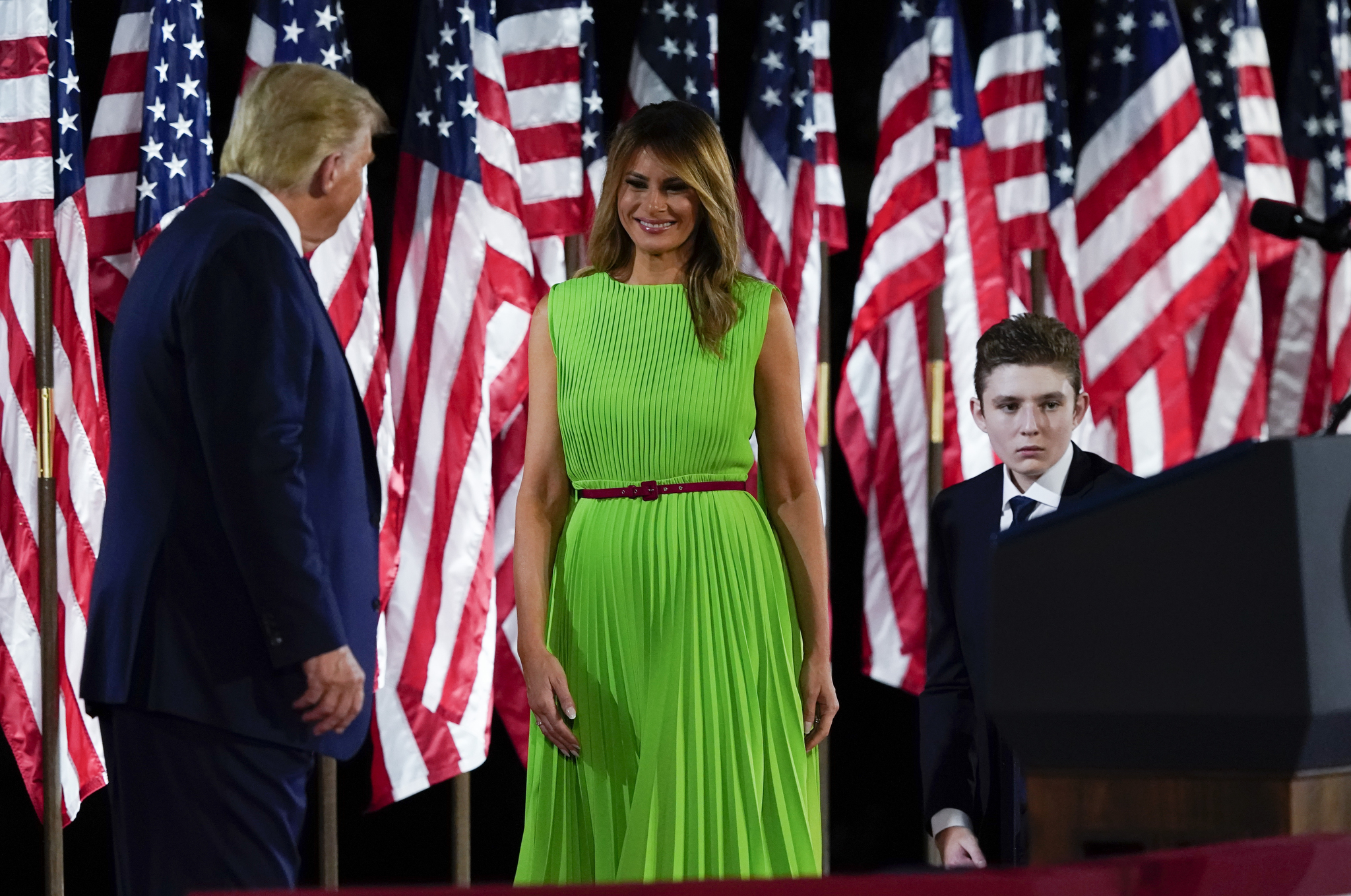 President Donald Trump, Melania Trump and Barron Trump at the Republican National Convention.