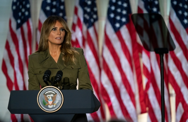 First lady Melania Trump speaks to the 2020 Republican National Convention from the Rose Garden of the White House, Tuesday, Aug. 25, 2020, in Washington. (AP Photo/Evan Vucci)