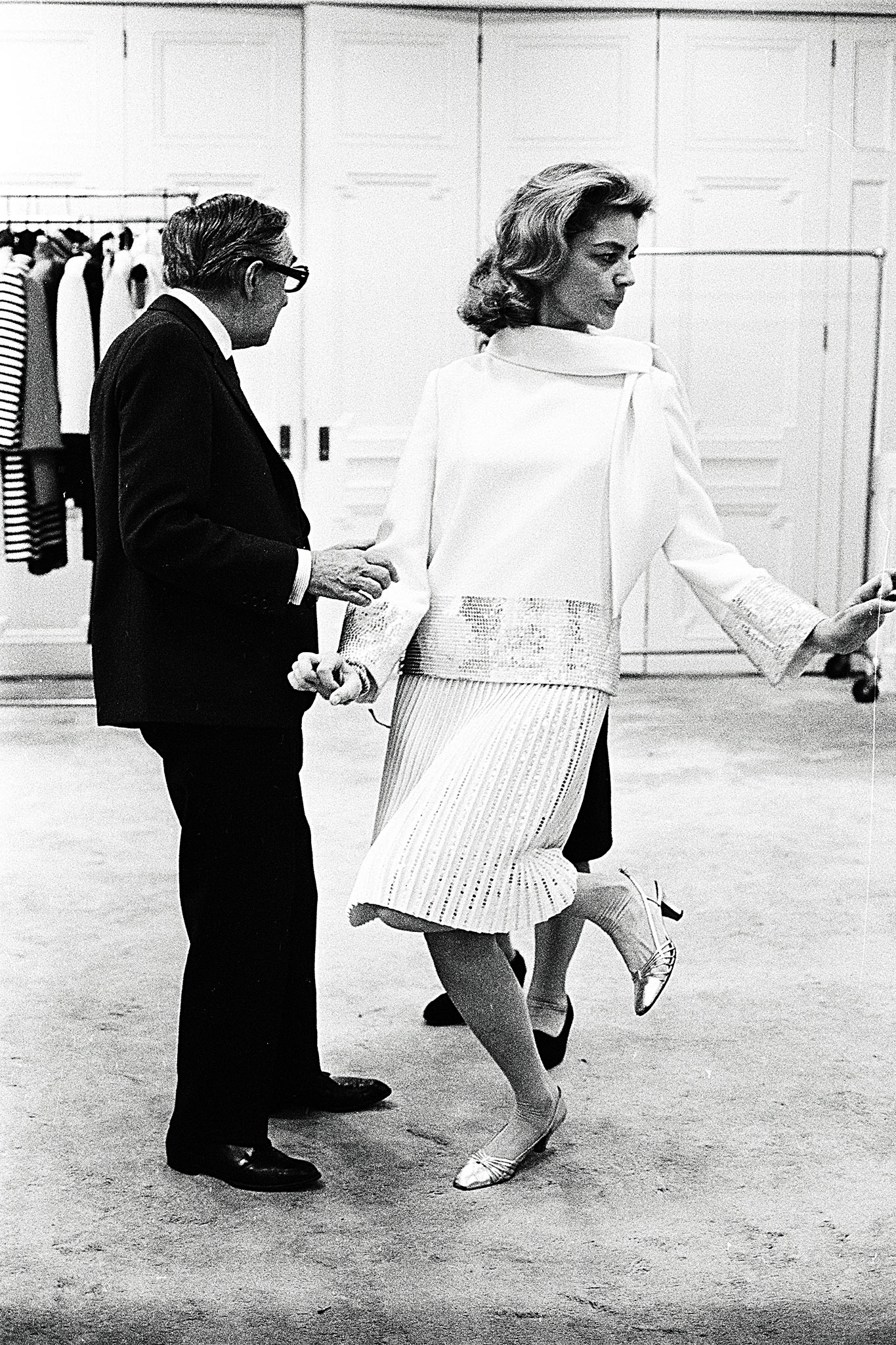 Lauren  Bacall with Norman Norell in New York, 1966.