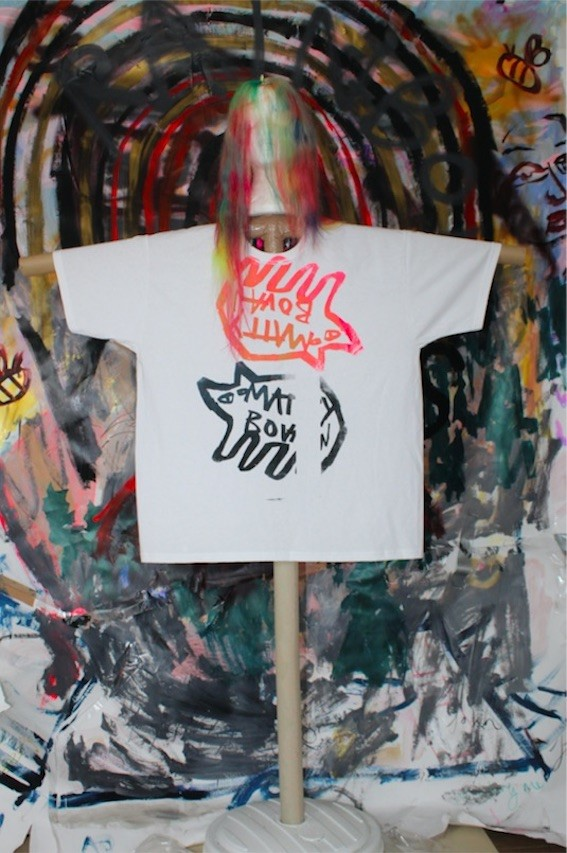 One of Matty Bovan's hand-painted T-shirts on a homemade scarecrow.