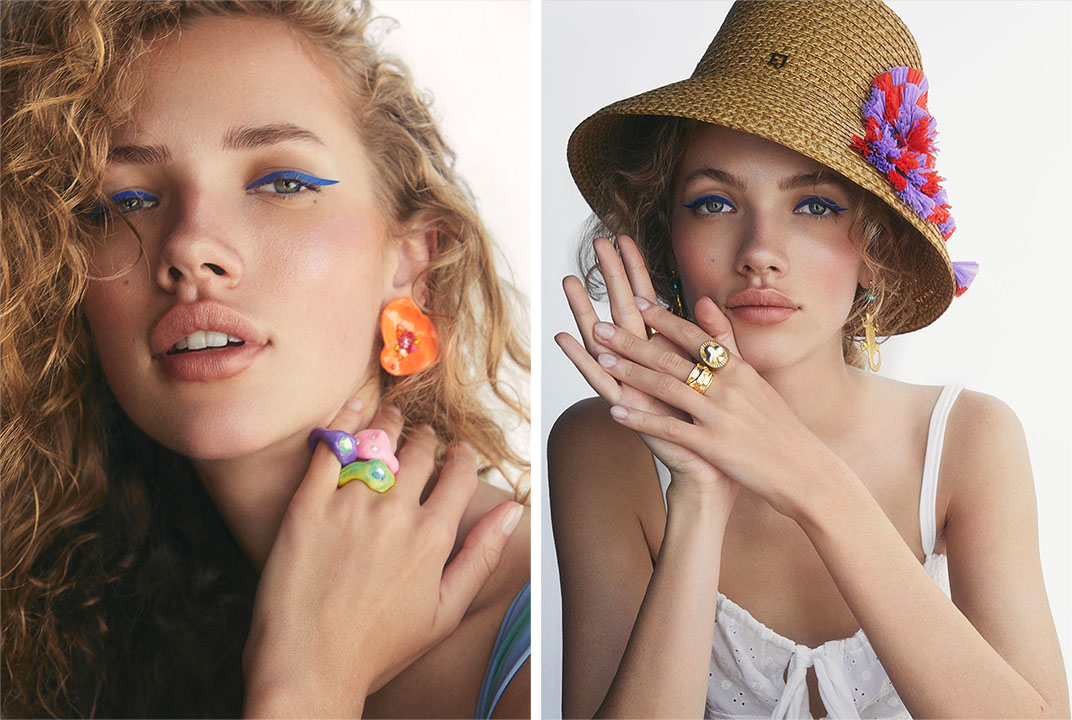 Left: Blobb's flower earrings and colorful rings. WeWoreWhat nylon and spandex bikini top. Right: Choked by a Thread's earrings, Celeste Starre's gold panther ring, Tuza's gold spade ring and Eric Javits' bucket hat. Frankies Bikinis' polyester and cotton dress.