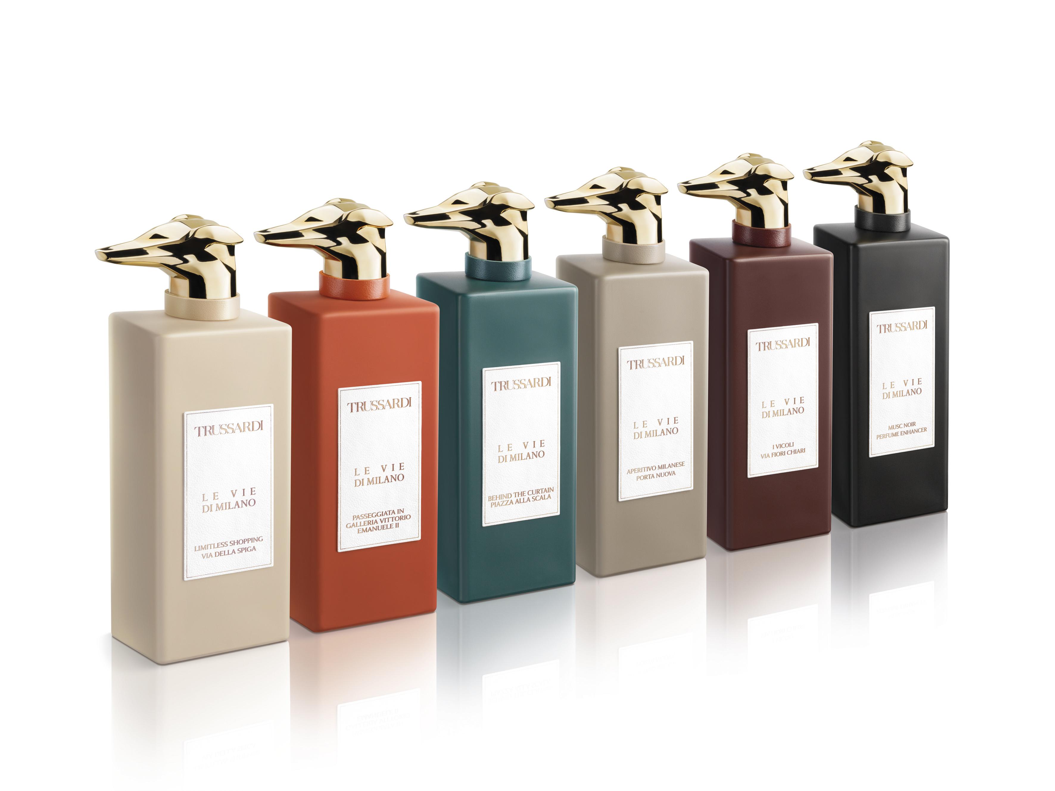 """The Trussardi """"Le Vie di Milano"""" collection of fragrances."""