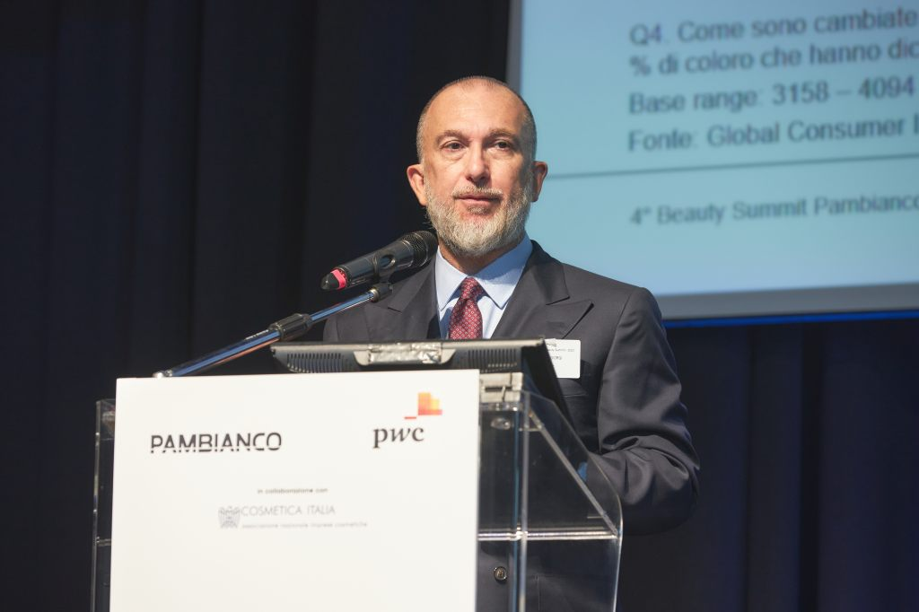 Nicola Giorgi speaking at the fourth edition of the Pambianco Beauty Summit in Milan.
