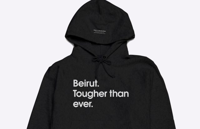 The hoodie that will raise money for the Lebanon Red Cross and Slow Factory Foundation.
