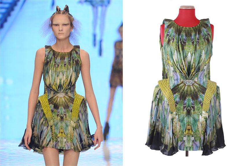 Multi-Color Silk Moth Print Kaleidoscope Dress, 'Plato's Atlantis', spring 2010.