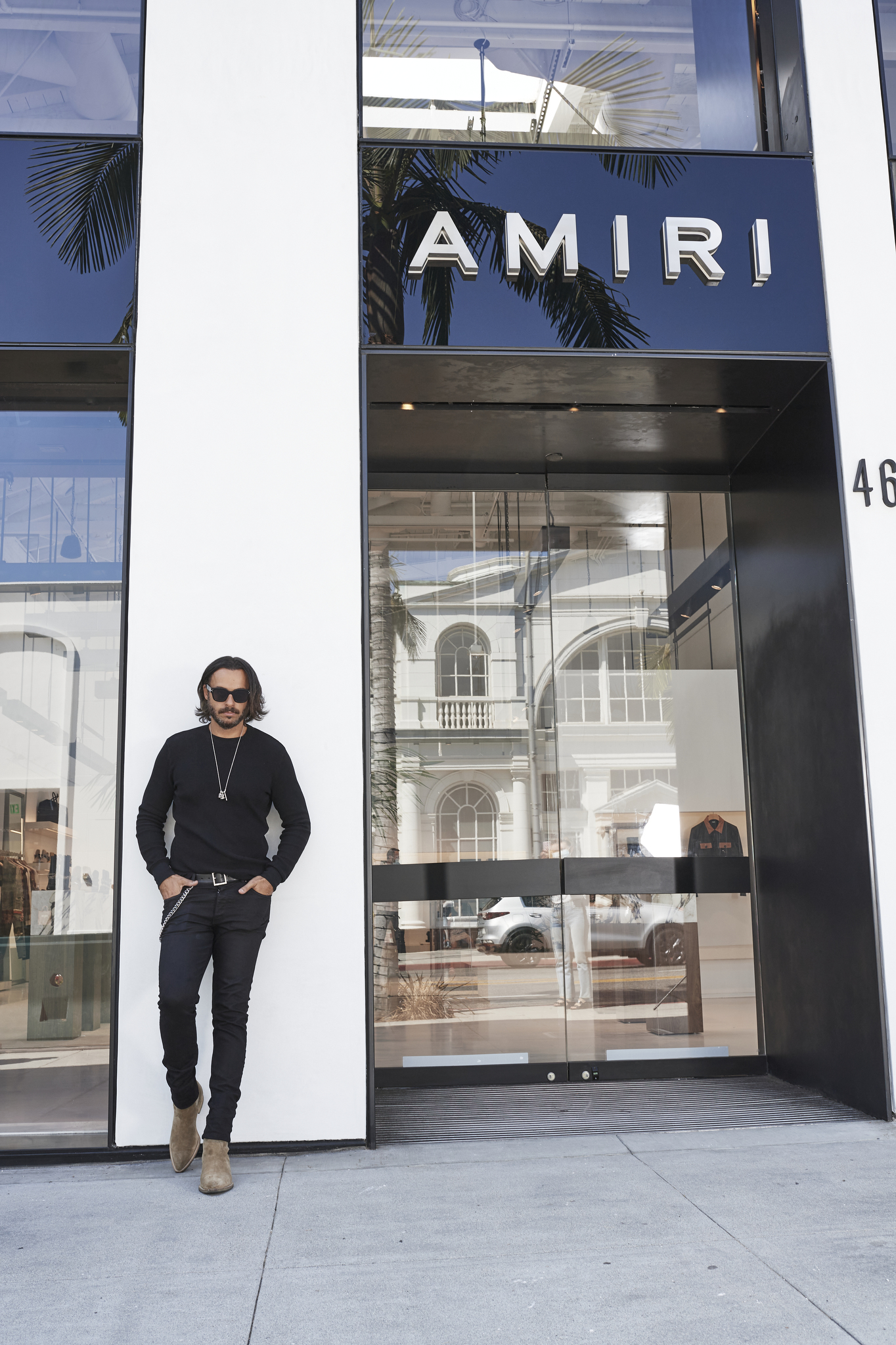 Mike Amiri in front of Amiri's flagship on Rodeo Drive.