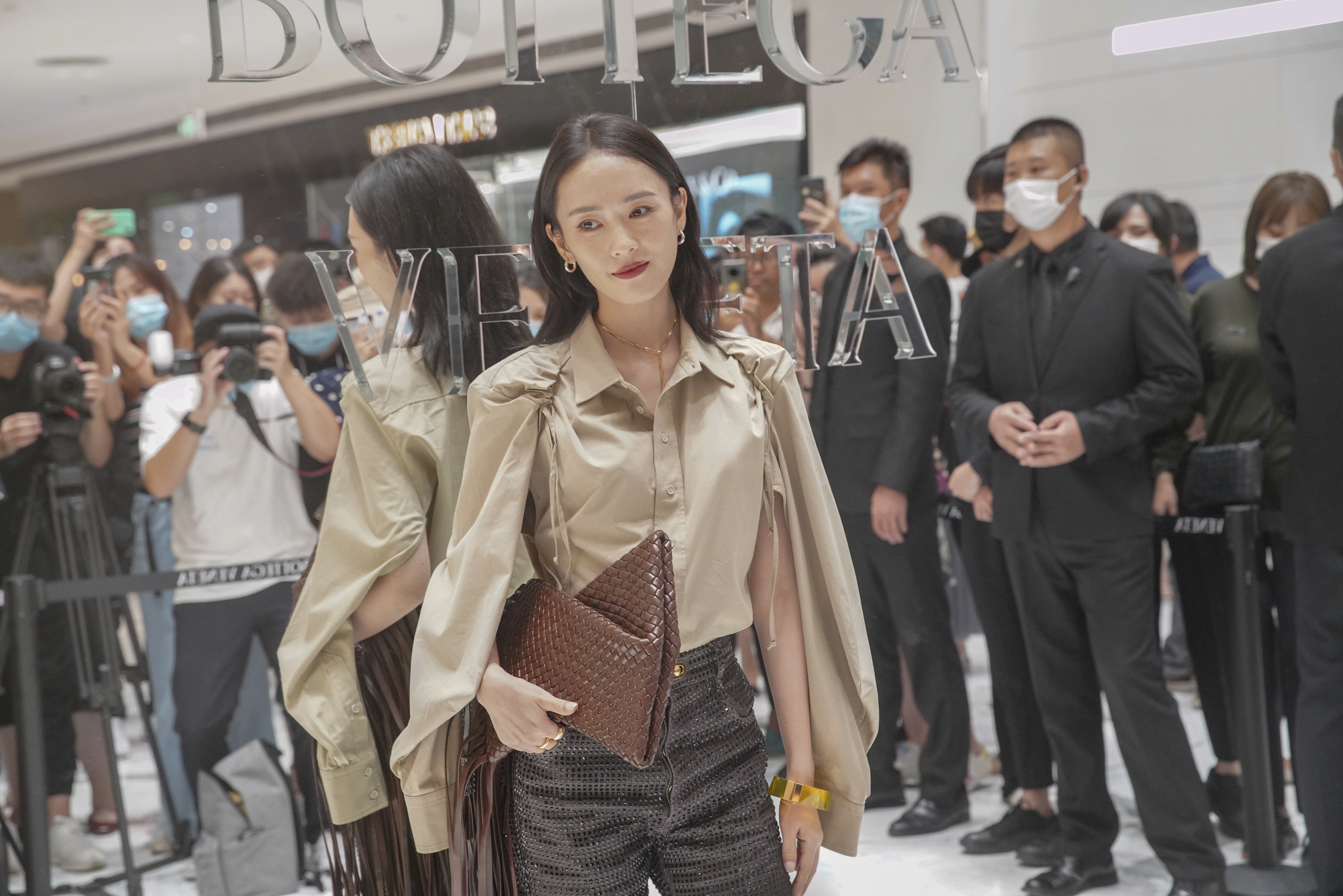 Chinese actress Tong Yao attends the opening ceremony of Bottega Veneta pop up in SKP Beijing.