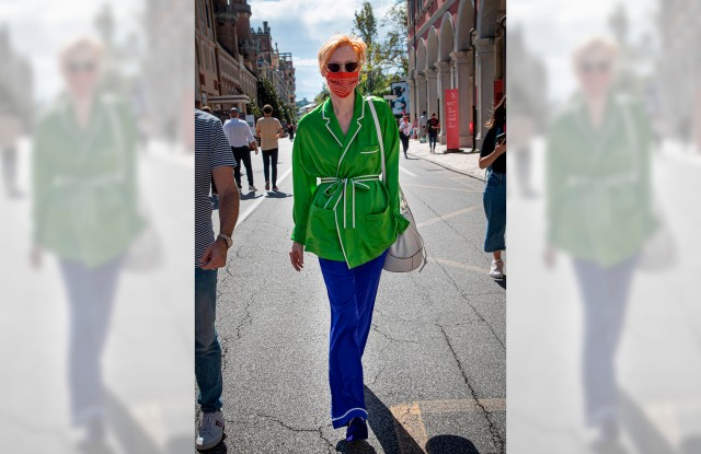 77th Mostra del Cinema of Venice. Tilda Swinton takes a walk in front the Excelsior Hotel, in Venice, Italy on September 2nd, 2020. Photo by Marco Piovanotto/Abaca/Sipa USA(Sipa via AP Images)