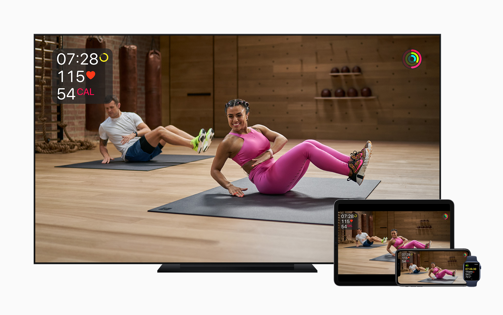 Apple Fitness+, a new virtual fitness service, will work across Apple's TV, devices and smartwatch.