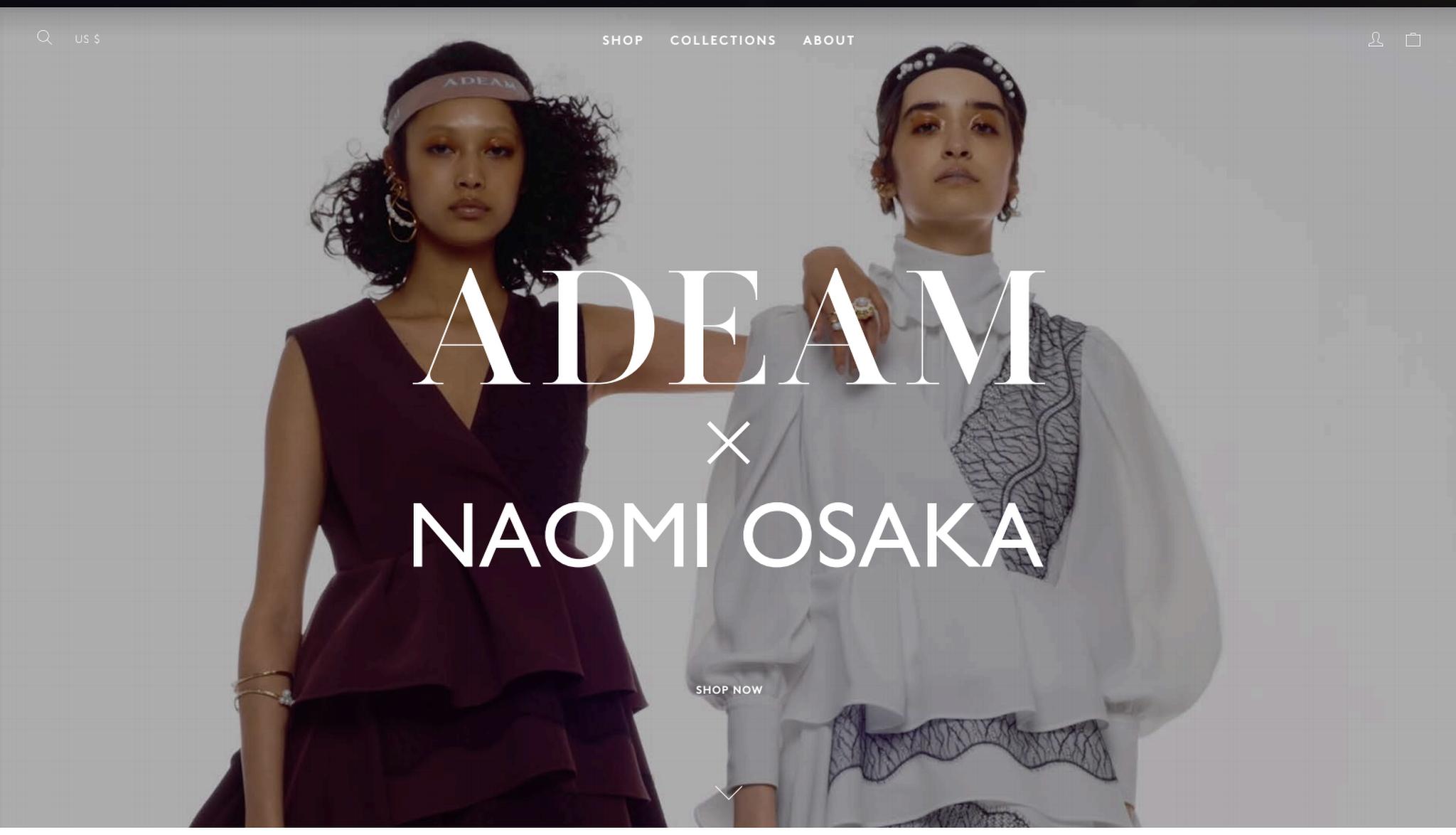 A screenshot from the Adeam x Noami Osaka e-commerce website.