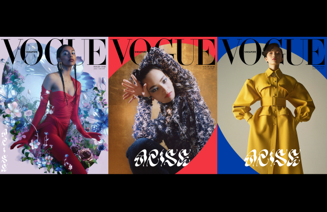 The three debut covers of Vogue Singapore