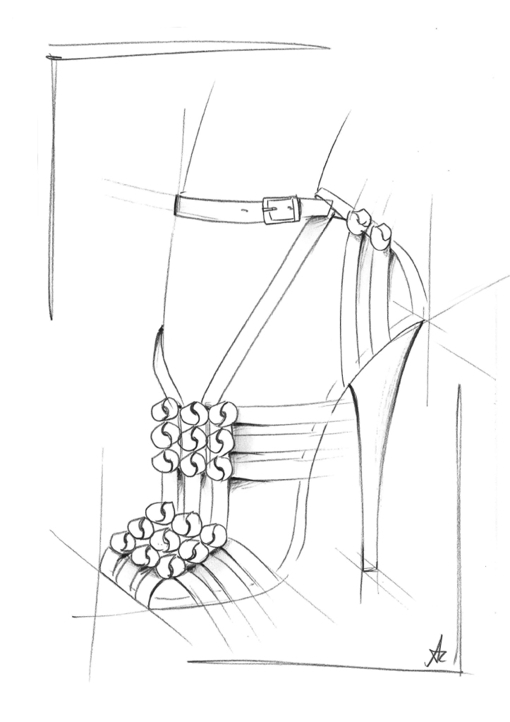 A sketch from the Santoni spring 2021 capsule designed by Andrea Renieri