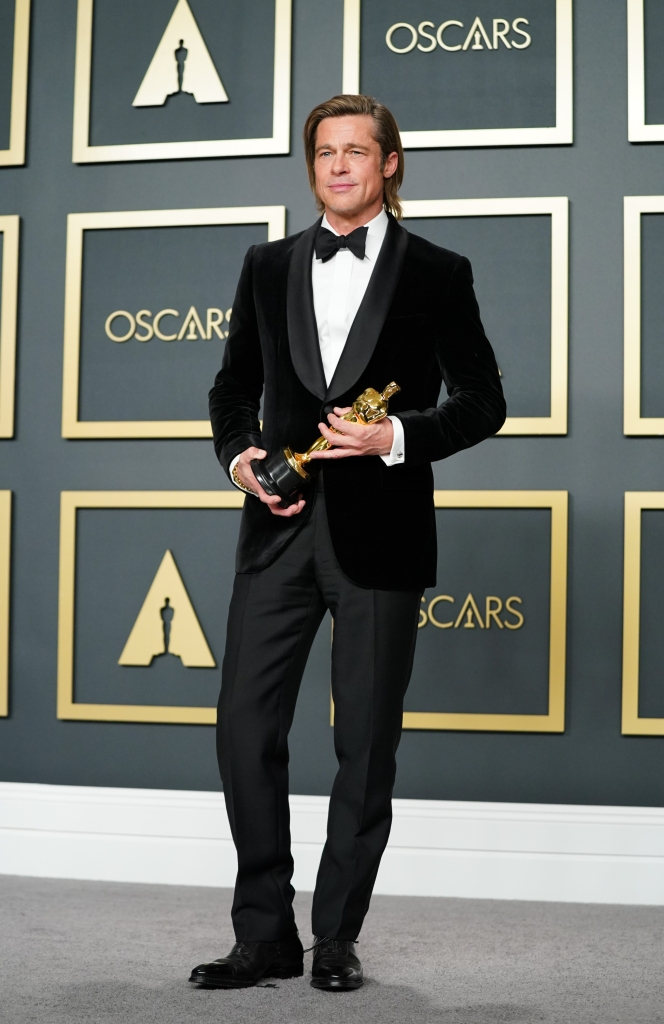 """Brad Pitt wore Brioni at the 92nd Annual Academy Awards, when he won Best Actor in a Supporting Role for """"Once Upon a Time...in Hollywood."""""""