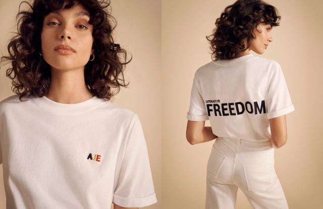 "Indigenous Australian model Charlee Fraser in a T-shirt designed by Sydney brand Aje, part of the ""Literacy Is Freedom"" campaign launched by David Jones, in partnership with the Australian Literacy & Numeracy Foundation."