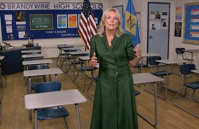 Jill Biden delivered her DNC speech in a Brandon Maxwell dress.