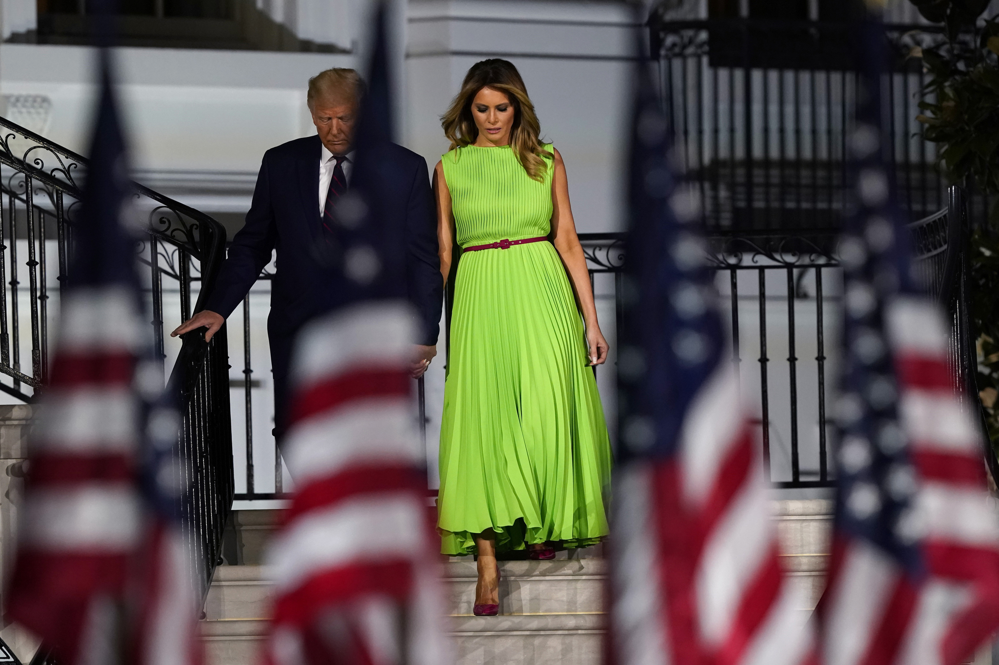 Melania Trump chose a sleeveless micropleated dress from Valentino for the final night at last month's RNC.