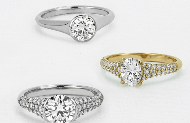 Engagement rings from Charles & Colvard's Caydia collection.