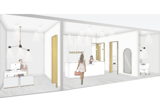 A rendering of the Fashionphile's latest studio at Neiman Marcus in Palo Alto, Calif.