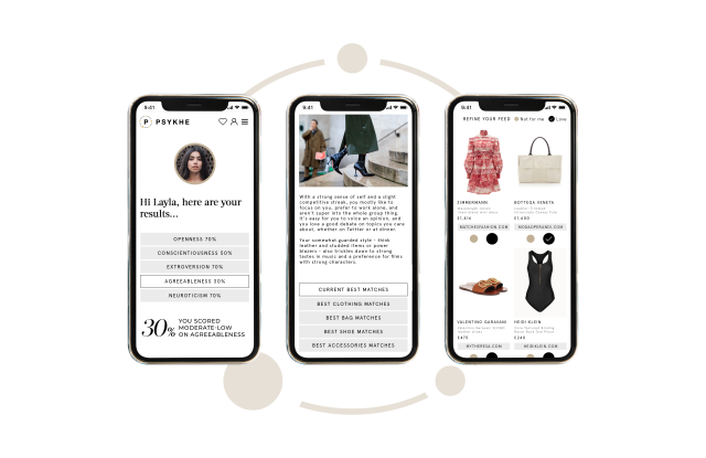 Personalized information and fashion recommendations generated by Psykhe technology.