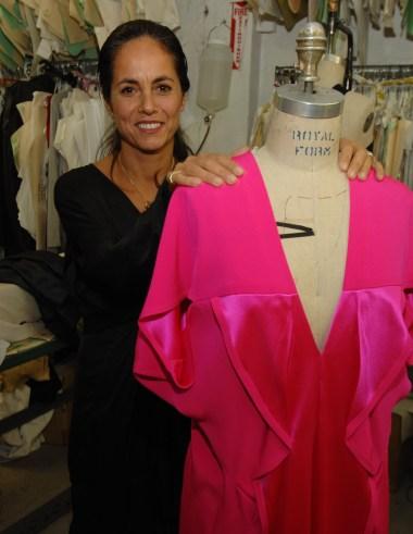 Fashion designer Maria Cornejo prepares for her Zero + Maria Cornejo fall 2008 runway show in New York City.