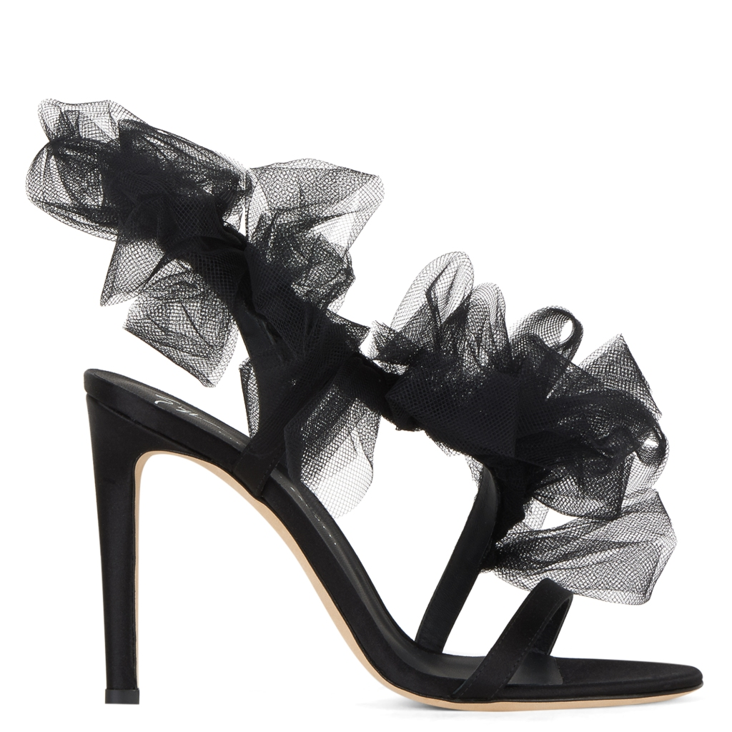 A high-heeled sandal with ruffles from the Giuseppe Zanotti spring 2021 collection.