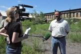 Filmmaker Jennifer Siebel Newsom interviewing steelworker Scott Seitz for the documentary.