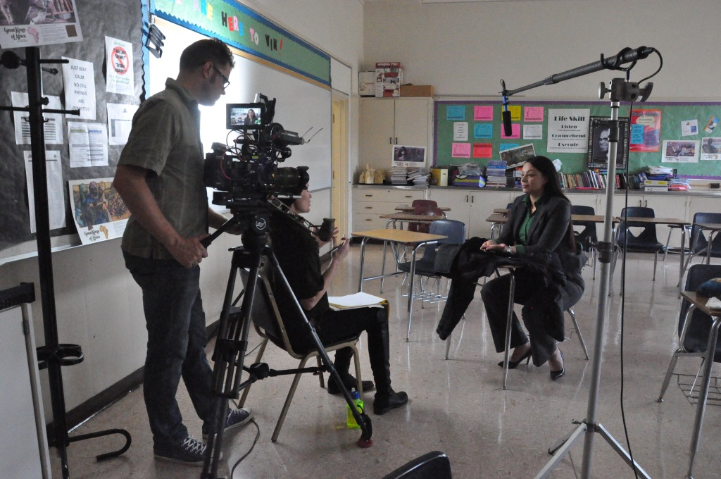 Filmmaker Jennifer Siebel Newsom interviewing public school principal Ruby De Tie for the documentary.