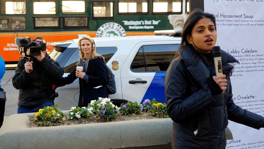 Filmmaker Jennifer Siebel Newsom and social justice activist Saru Jayaraman in the documentary.