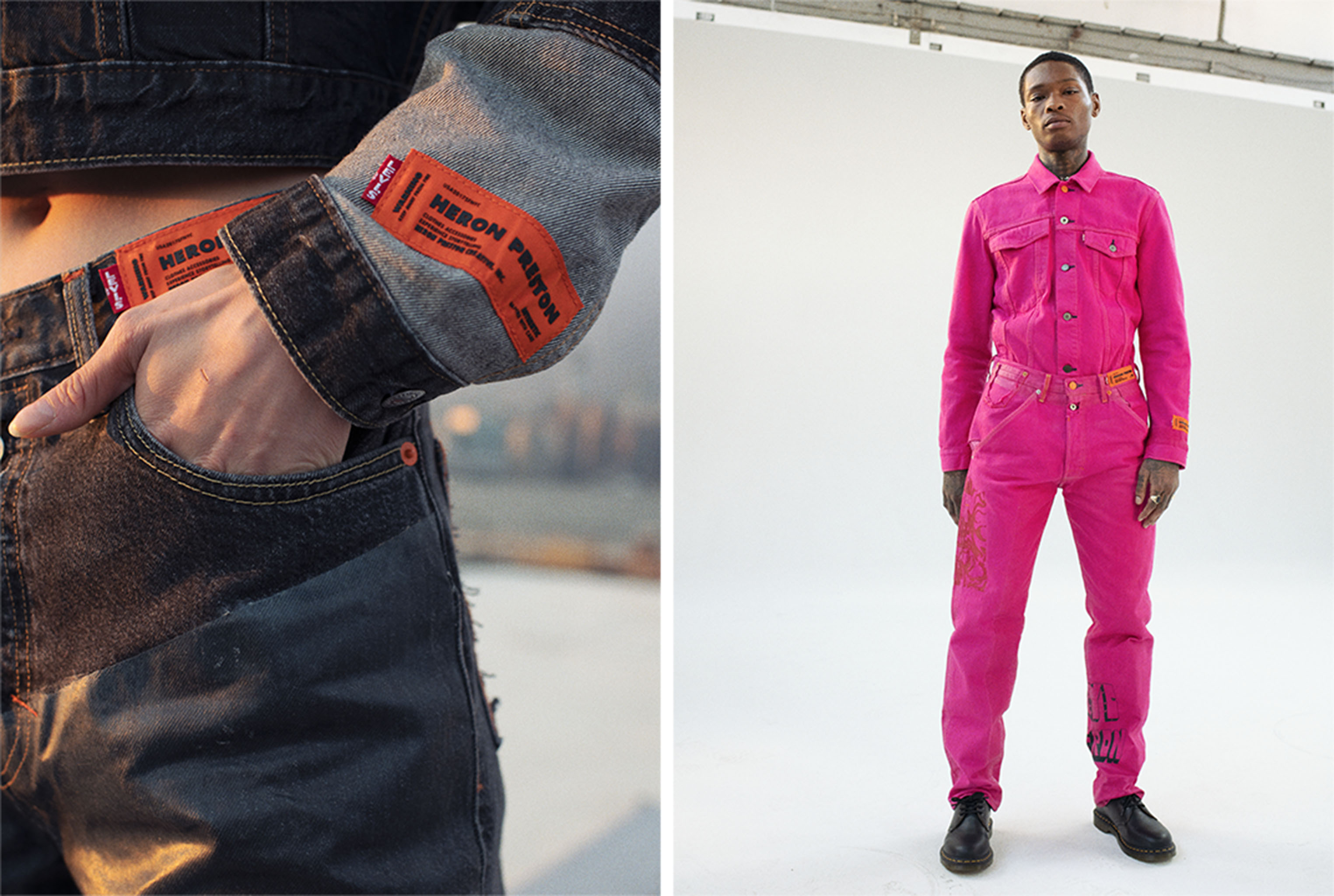 A look from the Heron Preston's collaboration with Levi's.