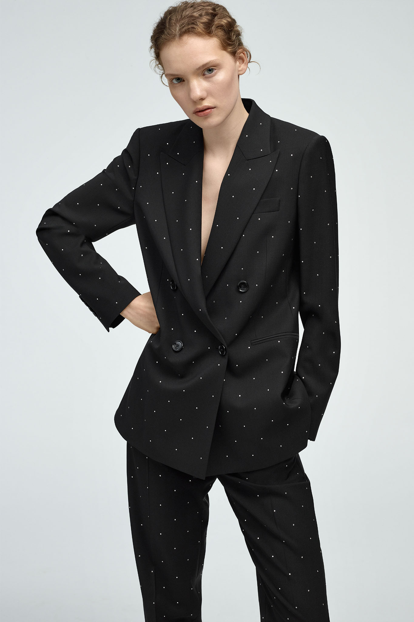 BOSS Womenswear limited-edition crystal-studded pantsuit.