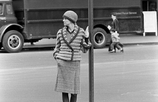 A model poses near the Paris Theater on 58th Street in a look from Missoni's fall 1973 ready to wear collection in New York City.