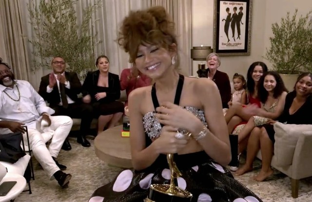 """Zendaya accepts the Emmy for Outstanding Lead Actress in a Drama Series for """"Euphoria"""" during the 72nd Emmy Awards telecast on Sunday, Sept. 20, 2020 at 8:00 PM EDT/5:00 PM PDT on ABC. (Invision for the Television Academy/AP)"""