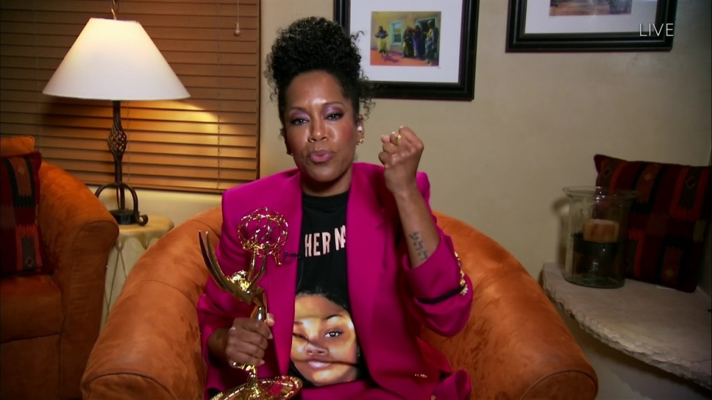 "Regina King accepts the Emmy for Outstanding Lead Actress in a Limited Series or Movie for ""Watchmen"" during the 72nd Emmy Awards telecast on Sunday, Sept. 20, 2020 at 8:00 PM EDT/5:00 PM PDT on ABC. (Invision for the Television Academy/AP)"