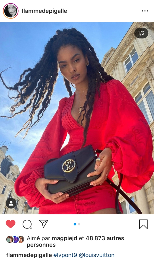 Sharon Alexie with the new Louis Vuitton Pont 9 bag